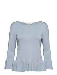 Knitted Pullover Short 3/4 Sle - DUSTY BLUE