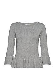 Knitted Pullover Short 3/4 Sle - GREY MELANGE