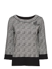 Knitted Pullover Short 3/4 Sle - BLACK/CREAM