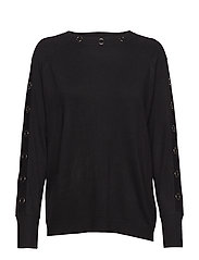 Knitted Pullover Short 1/1 Sle - BLACK