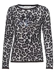 Knitted Pullover Short 1/1 Sle - DARK BLUE/GREY