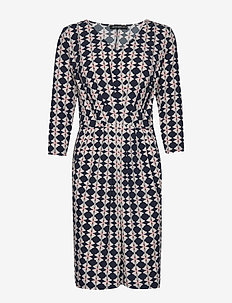 Dress Short 3/4 sleeve - DARK BLUE/CREAM