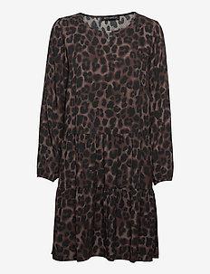 Dress Short 1/1 sleeve - robes midi - black/brown