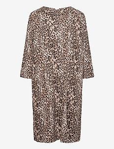 Dress Short 3/4 sleeve - robes courtes - camel/grey