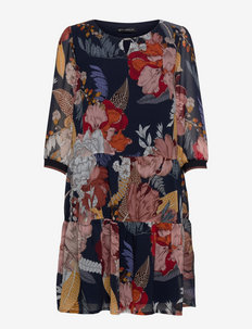 Dress Short 3/4 sleeve - everyday dresses - dark blue/brown