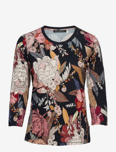 Shirt Short 3/4 Sleeve - long-sleeved tops - dark blue/brown