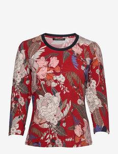 Shirt Short 3/4 Sleeve - long-sleeved tops - dark red-dark blue
