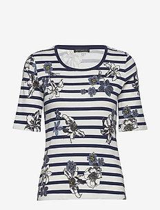 Shirt Short 1/2 Sleeve - stripede t-skjorter - blue/cream