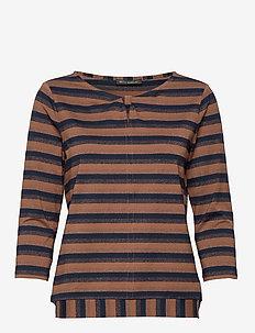 Shirt Short 3/4 Sleeve - DARK BLUE/BROWN