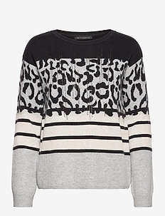 Knitted Pullover Short 1/1 Sle - pulls - grey/grey
