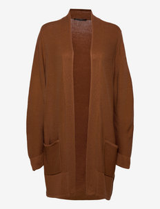 Knitted Jacket Long 1/1 Sleeve - cardigans - brandy