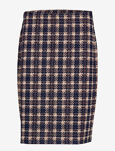 Skirt Medium Length Classic - DARK BLUE/BROWN