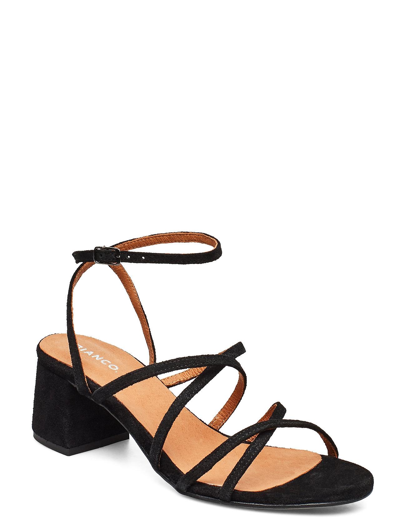 Image of Biadayton Suede Strap Sandal Sandal Med Hæl Sort Bianco (3372501663)