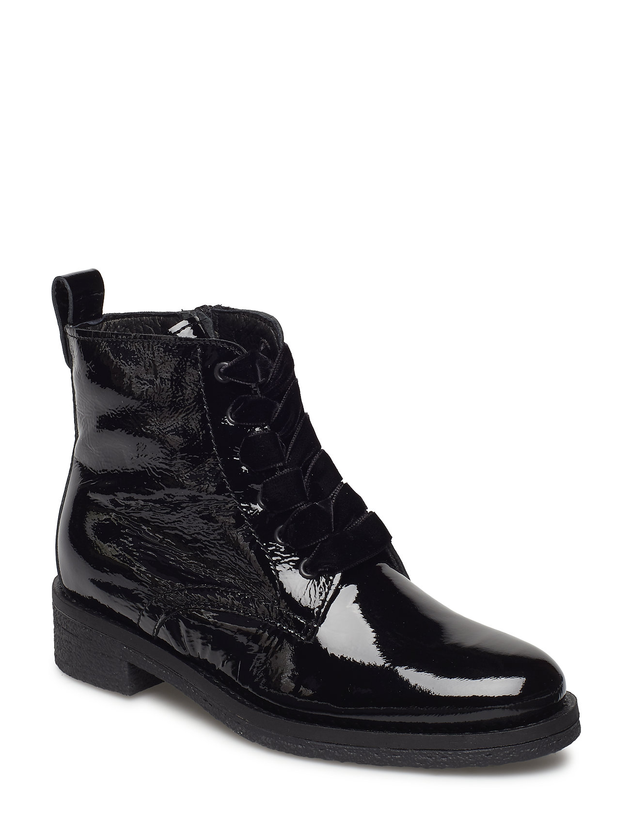 Image of Biatine Patent Laced Up Boot Shoes Boots Ankle Boots Ankle Boots Flat Heel Sort Bianco (3229390791)