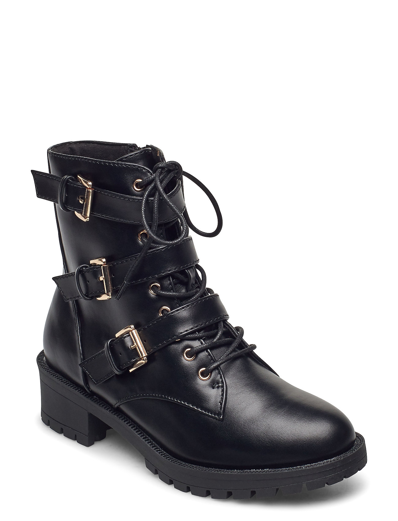 Image of Biaclaire Basic Biker Boot Shoes Boots Ankle Boots Ankle Boot - Heel Sort Bianco (3437801947)
