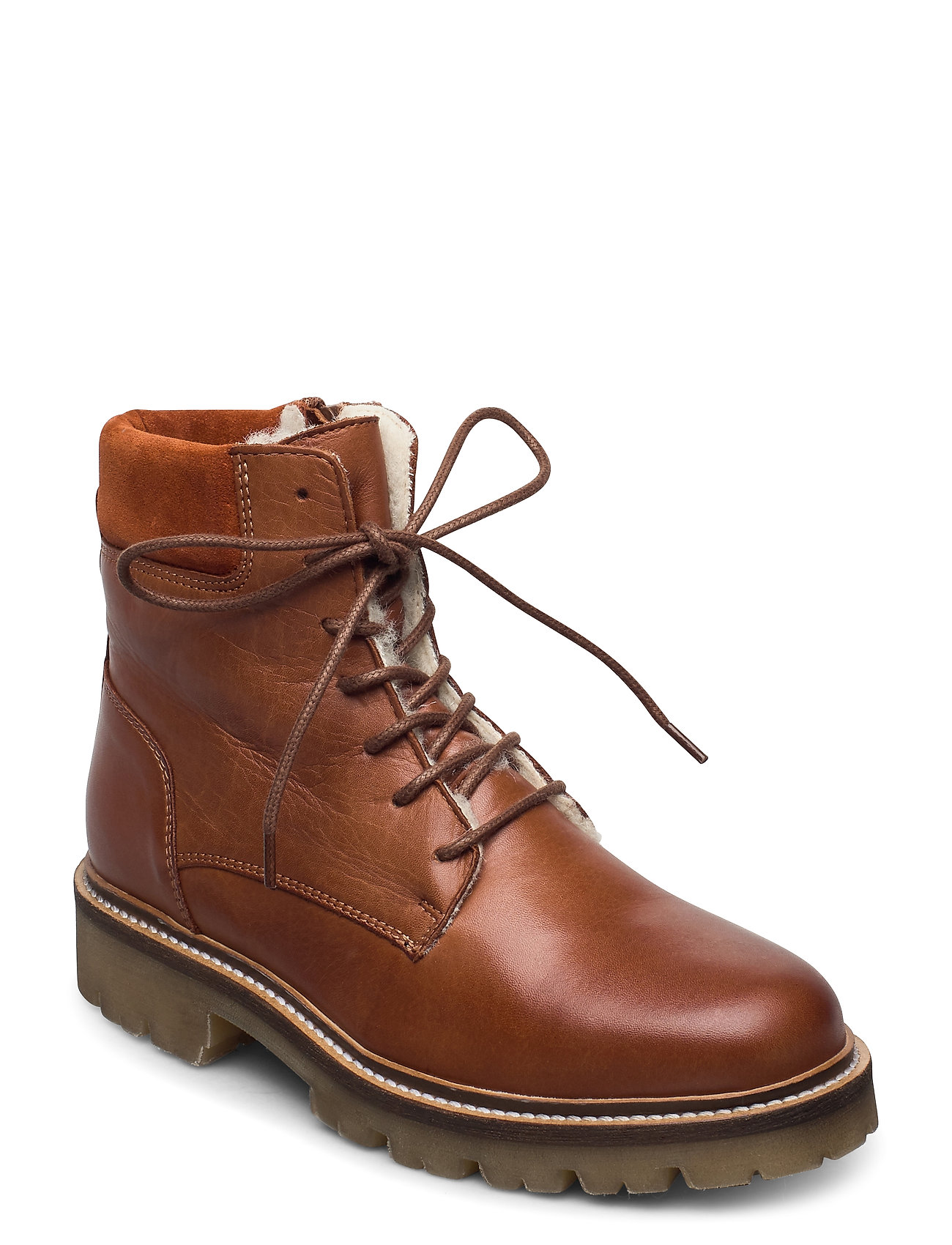 Image of Biadiya Laced Warm Boot Shoes Boots Ankle Boots Ankle Boot - Flat Brun Bianco (3437802013)