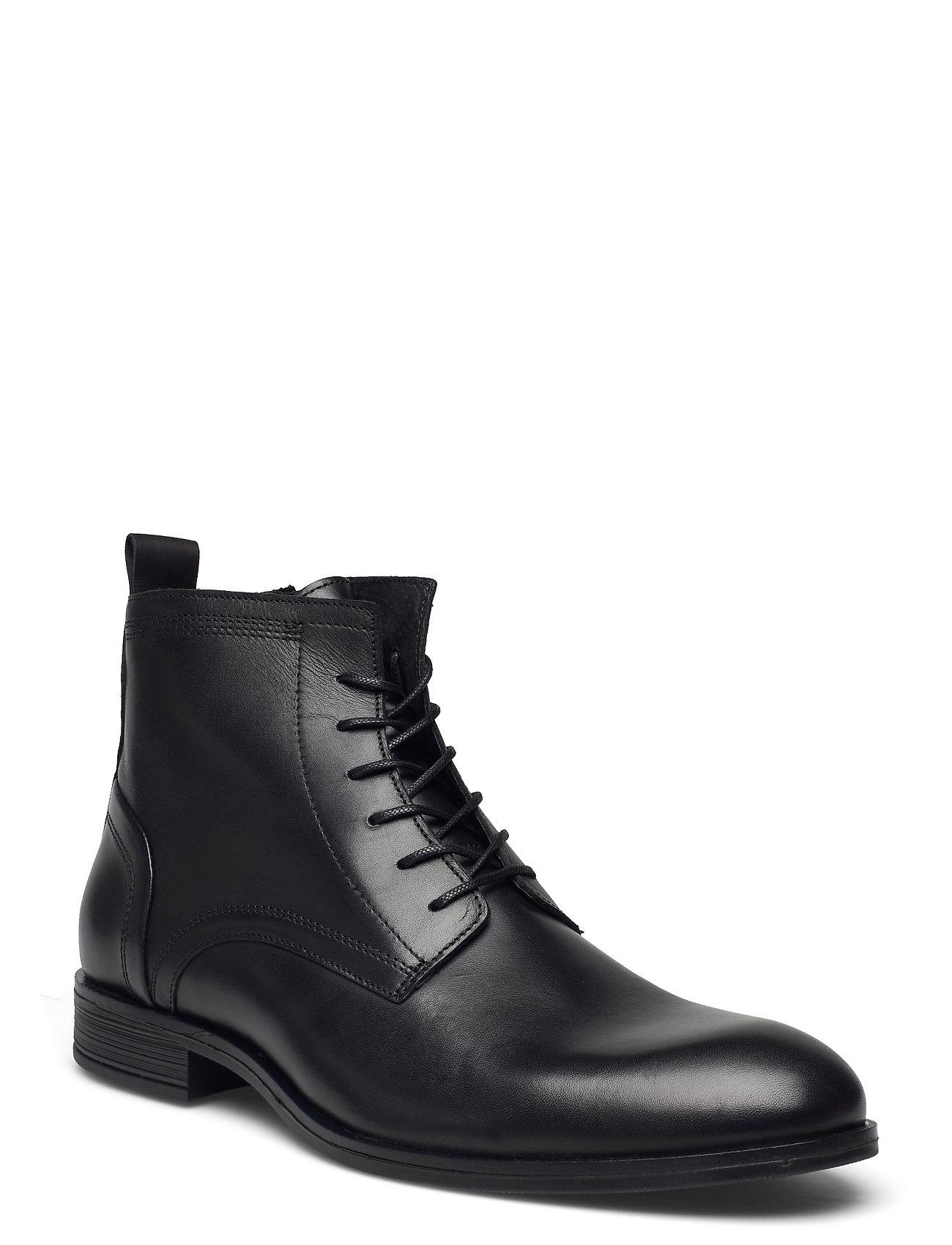 Biabyron Leather Lace Up Boot Snørestøvler Sort Bianco