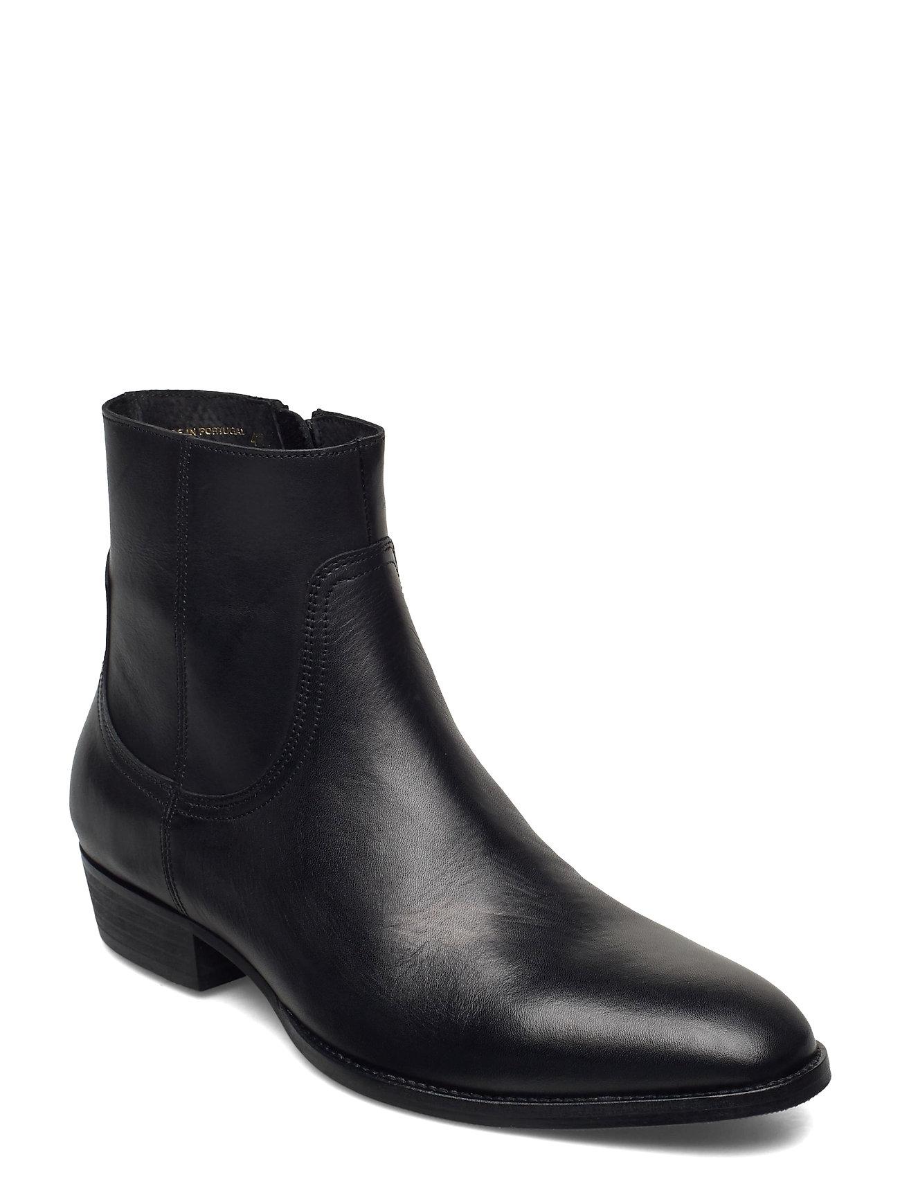 Image of Biabeck Leather Boot Støvlet Chelsea Boot Sort Bianco (3486936593)