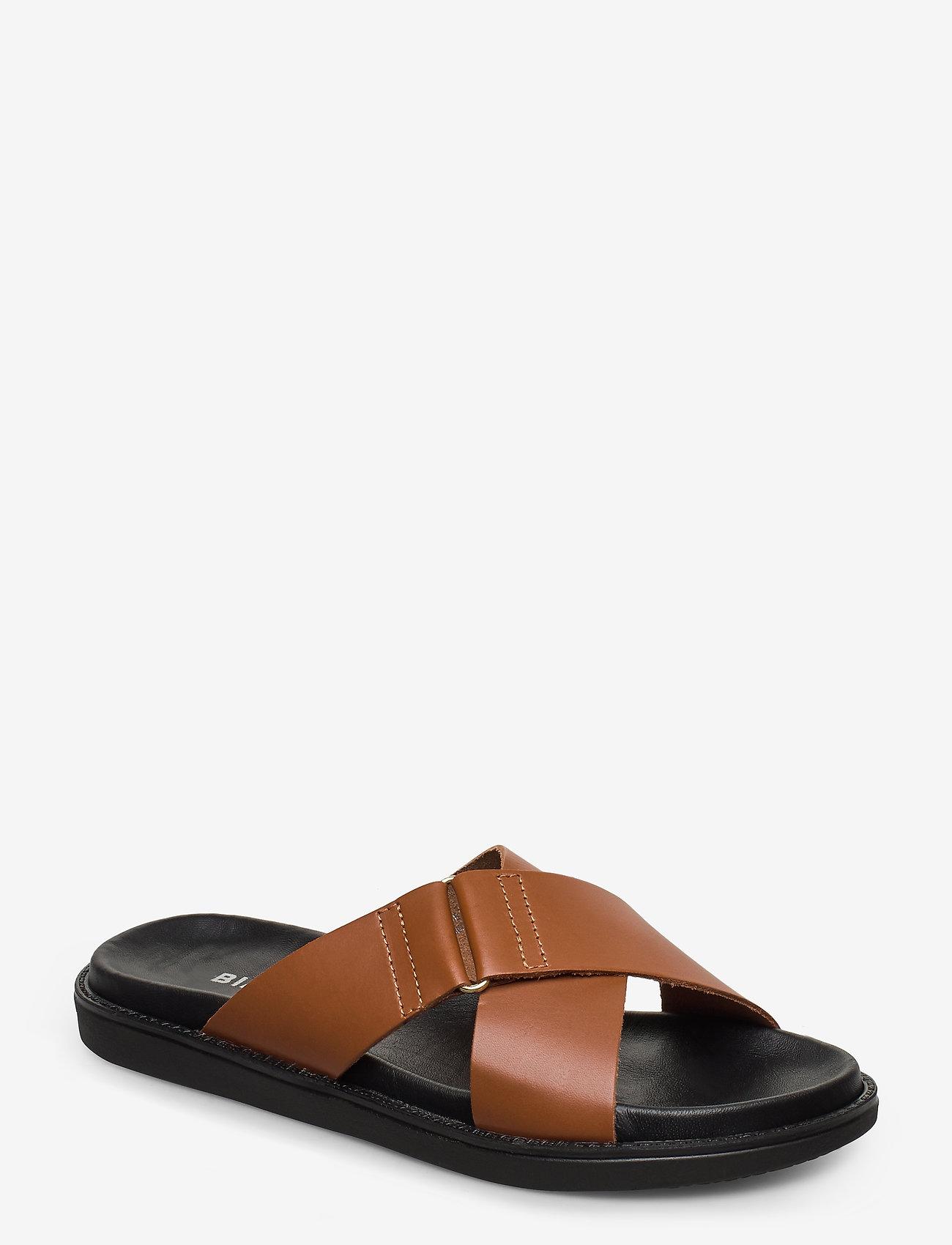 Bianco - BIADEBBIE Leather Cross Sandal - sandales - cognac - 0