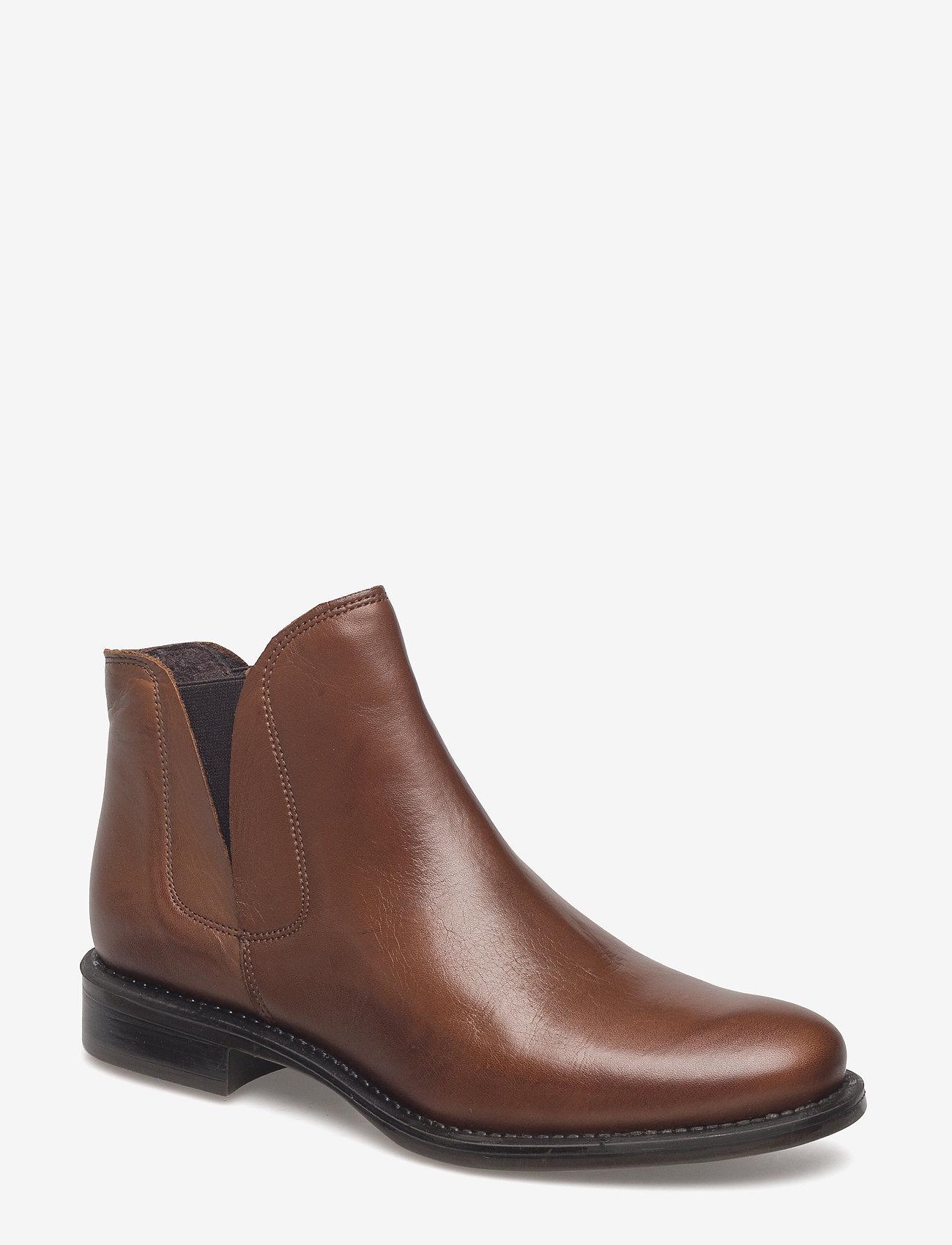 Bianco - V-Split Boot - platte enkellaarsjes - cognac - 0