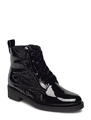 Patent Laced Up Boot - BLACK