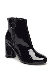 Round Heel Ankle Boot - BLACK