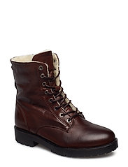 Laced Up Boot W/Wool - DARK BROWN