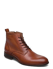 BIABYRON Leather Lace Up Boot - BRANDY