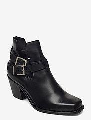 Bianco - BIACEDAR Open Leather Boot - enkellaarsjes met hak - black - 0