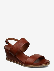 BIACAILY Leather Wedge Sandal - COGNAC