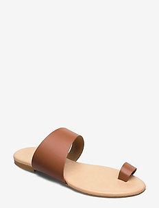 BIACAI Leather Toe Sandal - flat sandals - cognac