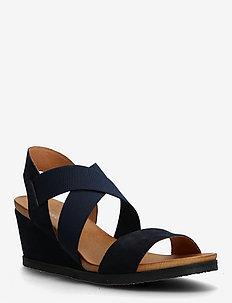 BIACAILY Leather Cross Sandal - sleehakken - navy blue 1
