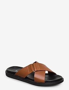 BIADEBBIE Leather Cross Sandal - sandales - cognac