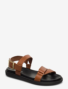 BIADEBBIE Leather Strap Sandal - flat sandals - cognac