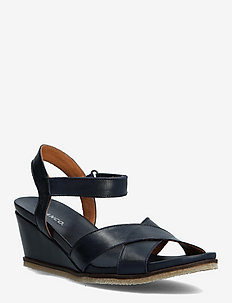 BIACAILY Leather Cross Sandal - sleehakken - navy blue