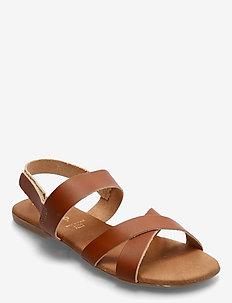 BIABROOKE Cross Sandal - platte sandalen - cognac