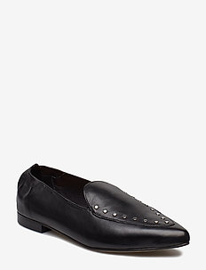 BIATRACY Leather Studs Loafer - BLACK 10