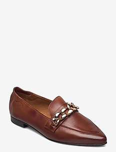 BIATRACEY Leather Chain Loafer - instappers - cognac