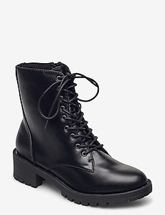 BIACLAIRE Laced-Up Boot - flade ankelstøvler - black