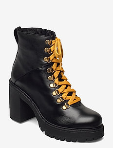 BIACURTIS Leather Boot - wysoki obcas - black