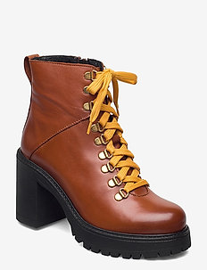 BIACURTIS Leather Boot - enkellaarsjes met hak - cognac