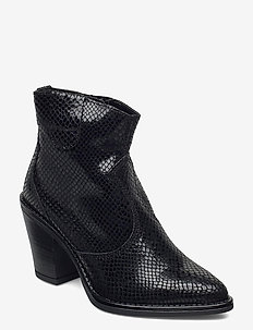 BIADIRA Leather Snake Boot - enkellaarsjes met hak - black 8