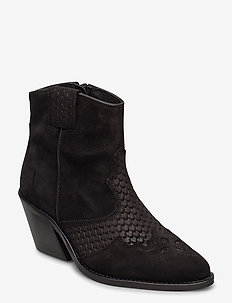 BIACUBA Snake Leather Western - ankelstøvler med hæl - black 1