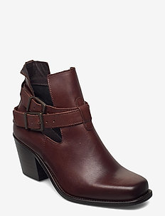BIACEDAR Open Leather Boot - enkellaarsjes met hak - dark brown
