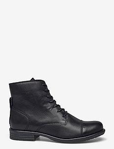BIADANELLE Leather Derby Boot - flade ankelstøvler - black