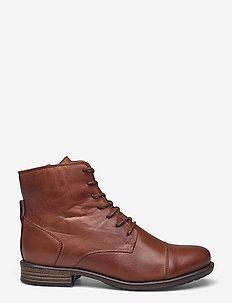 BIADANELLE Leather Derby Boot - flade ankelstøvler - cognac