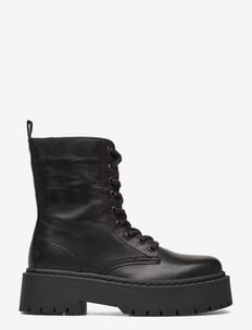 BIADEB Laced Up Boot - flade ankelstøvler - black