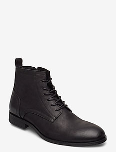 BIABYRON Leather Lace Up Boot - med snøre - black