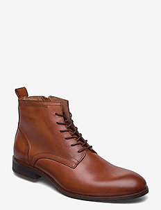 BIABYRON Leather Lace Up Boot - laced boots - brandy