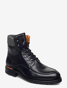 BIACARNEY Tweed Boot - kängor med snörning - black